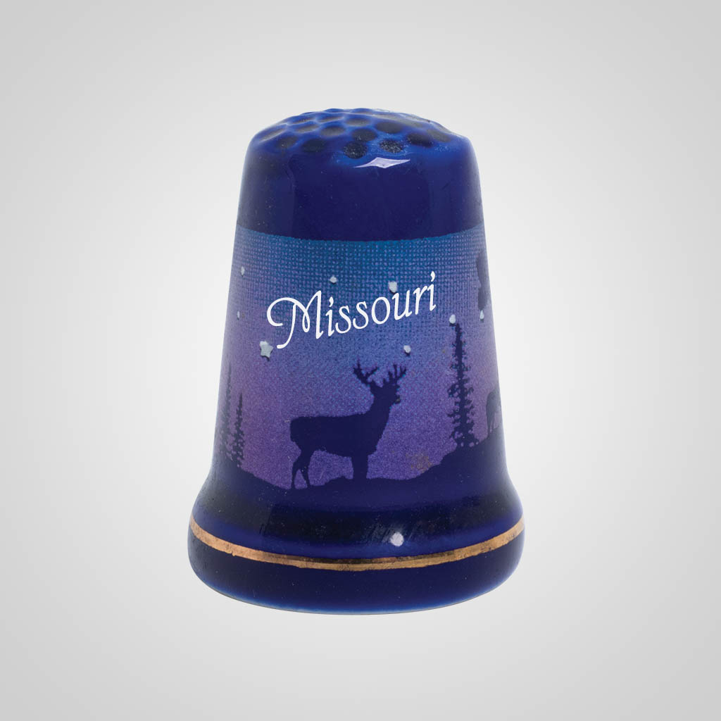 55250MO - Cobalt Deer/Forest Thimble - Imprinted