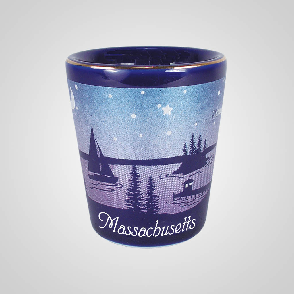 56481MA - Cobalt Nautical Shot Glass, Massachusetts
