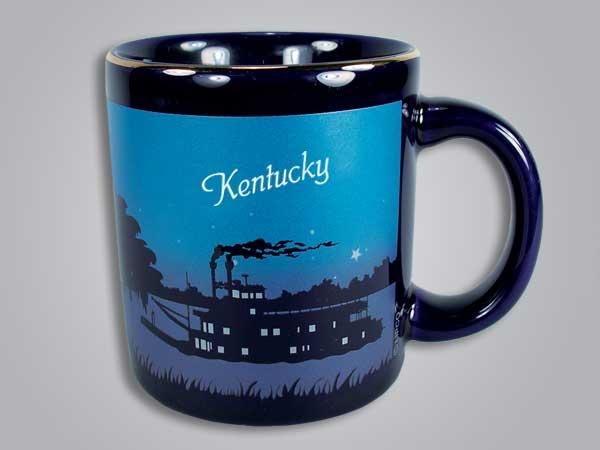 56524KY - Cobalt Riverboat Scene mug