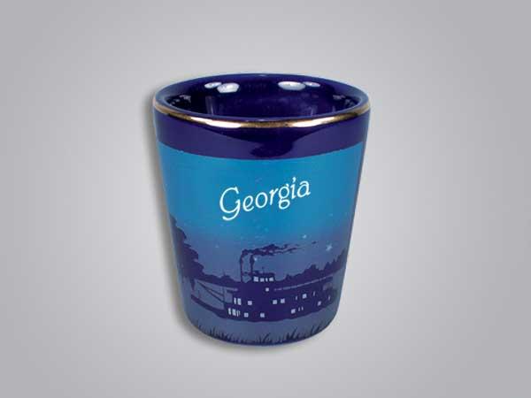 56525GA - Cobalt Riverboat Scene Shot Glass - Imprinted