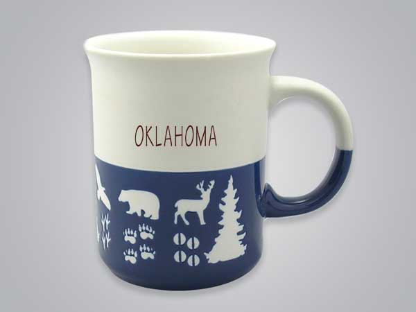 57101OK - Wildlife Blue & White Mug, Oklahoma