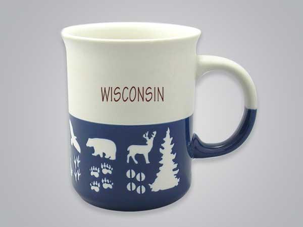 57101WI - Wildlife Blue & White Mug, Name-drop