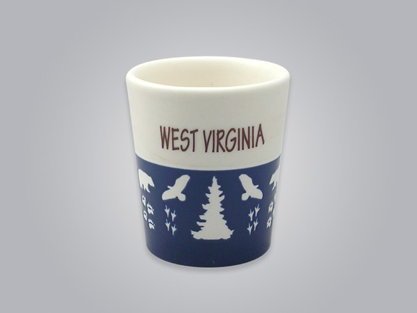 57103WA - Wildlife Blue & White Shot Glass, Name-drop