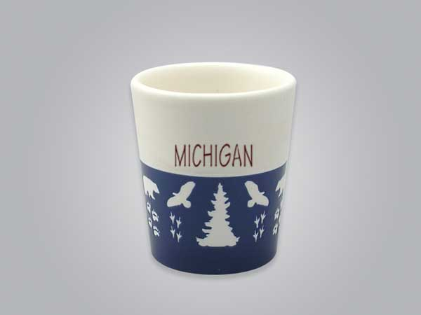 57103MI - Wildlife Blue & White Shot Glass, Name-drop