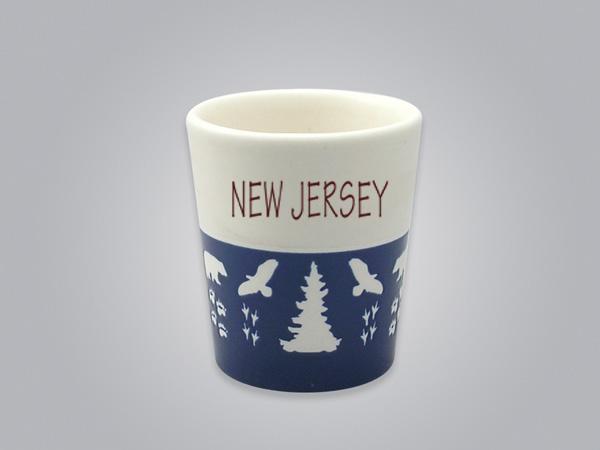 57103NJ - Wildlife Blue & White Shot Glass, Name-drop