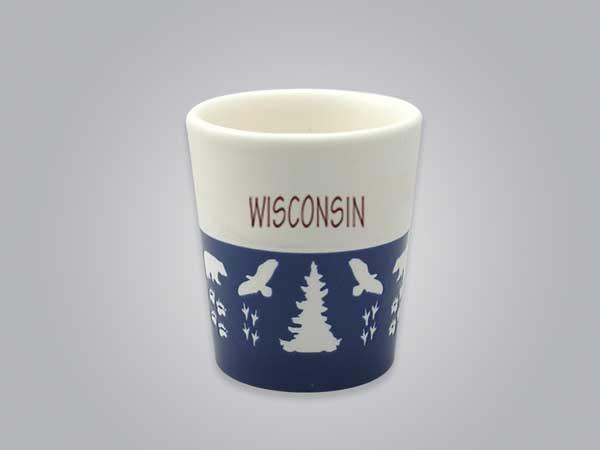 57103WI - Wildlife Blue & White Shot Glass, Name-drop