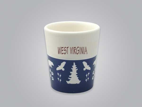 57103WV - Wildlife Blue & White Shot Glass, Name-drop
