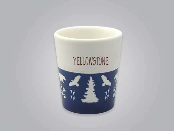 57103YS - Wildlife Blue & White Shot Glass, Name-drop