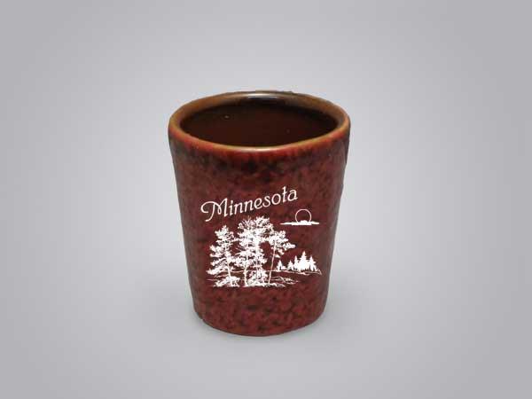 57912MN - Red Textured Shot Glass, Minnesota