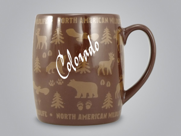 58060CO - Wildlife Wrap Barrel Mug, Name-drop