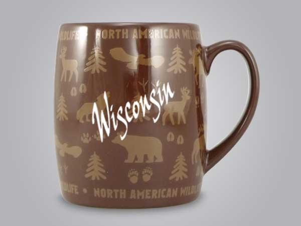 58060WI - Wildlife Wrap Barrel Mug, Name-drop
