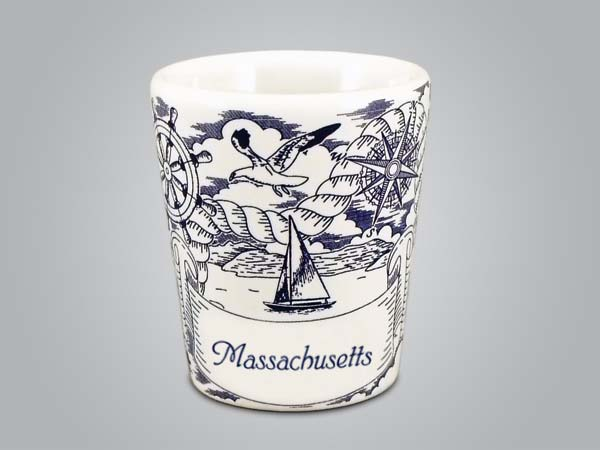 58289MA - Nautical Pencil Sketch Shot Glass, Name-drop