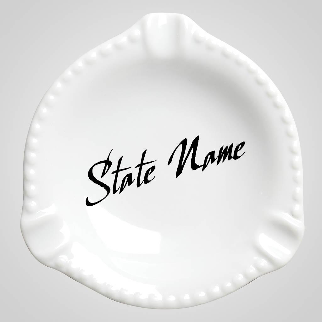 59219CO - White ceramic ash tray Colorado