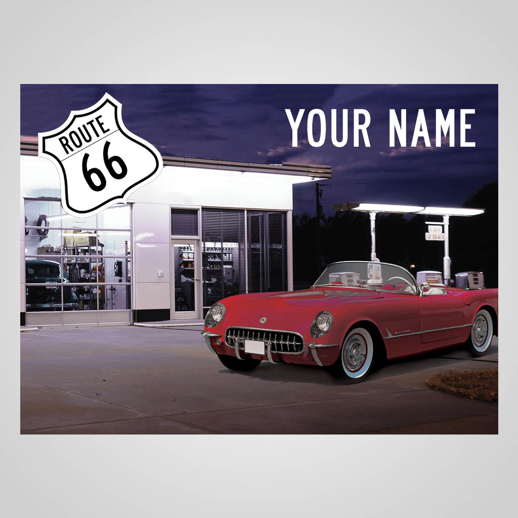 JMS00115 - Route 66 Gas Station With Car Multi Color Jet Print
