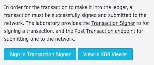 stellar Laboratory sign transaction
