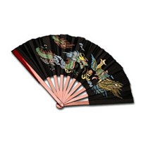 Bamboo Fan with Dragon and Phoenix Design