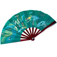 Bamboo Dragon Fighting Fan - Green
