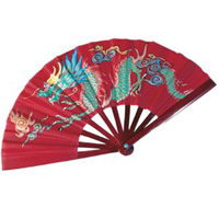 Bamboo Dragon Fighting Fan - Red