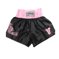 Fighter Thai Trunks - Black/Pink