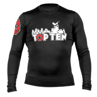 Top Ten MMA Long Sleeve Rash Guard - Black