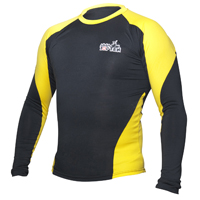 Top Ten MMA Long Sleeve Rash Guard - Black/Yellow