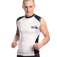 Top Ten MMA Sleeveless Rash Guard - White/Black