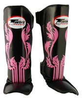 Twins Slim Shin Instep Guards - Black/Pink