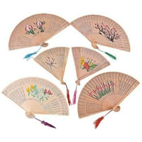 Wooden Chinese Floral Fans
