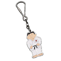 Karate Man with Japanese Flag Keychain