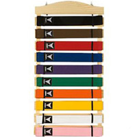 Karate Belt Display Wood Rack - 10 belts