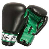 ProForce Leatherette Boxing Gloves - Black / Green