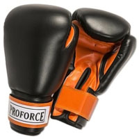 ProForce Leatherette Boxing Gloves - Black / Orange
