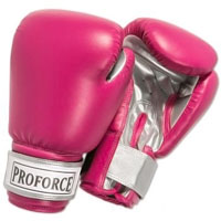 ProForce Leatherette Boxing Gloves - Fuchsia / Silver