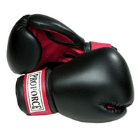 ProForce Leatherette Boxing Gloves - Black with Red Palm