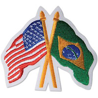 USA / Brazil Crossed Flags Patch  - 3-1/2