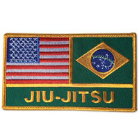 USA / Brazil Jiu-Jitsu Flags Patch - 4-3/4