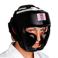 ProForce Black Leather Full Face Boxing / MMA Headgear