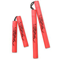 Red Practice Nunchaku with Black Dragon
