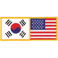 Tiger Claw USA & Korea Flag Patch - 4 3/4