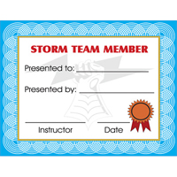 Tiger Claw Storm Team Certificate