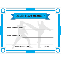 Tiger Claw Demo Team Member Certificate