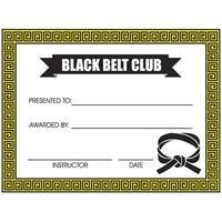 Tiger Claw Black Belt Club Certificate