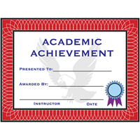 Tiger Claw Academic Achievement Certificate