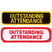 Tiger Claw Rectangular Outstanding Attendance Patches
