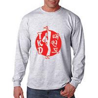 Tiger Claw TKD Kicker on White Circle Long Sleeve T-Shirt