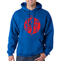 Tiger Claw TKD, Kicker on White Circle Hooded Sweatshirt - Red Logo
