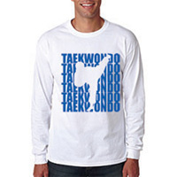 Tiger Claw Tae Kwon Do Silhouette Long Sleeve T-Shirt - Blue Logo