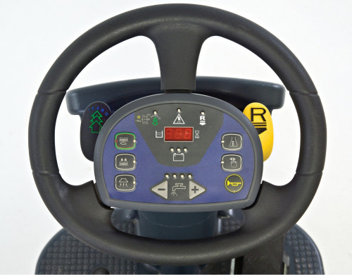 Steering and controls of the Advance SC3000 floor scrubber