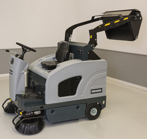 High dump hopper for the SW4000 industrial floor sweeper