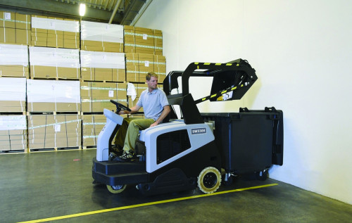 High dump feature on the SW5500 industrial floor sweeper